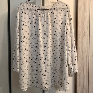 Like New White Blouse with Stars